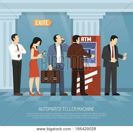 People getting money and performing bank operations in atm flat vector illustration