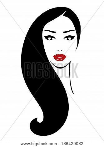 beautiful woman face with red lips and dark eyes