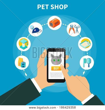 Online shop concept with pet care accessories for cats on blue background flat vector illustration
