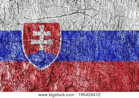 Grudge stone painted Slovakia flag close up