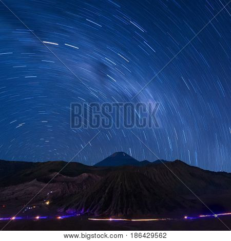 Long exposure capture of star trails above the Bromo Volcano Indonesia Astronomy photography.