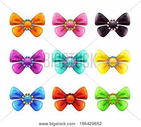 Colorful glossy decorative bows set. Vector icons, isolated on white background.