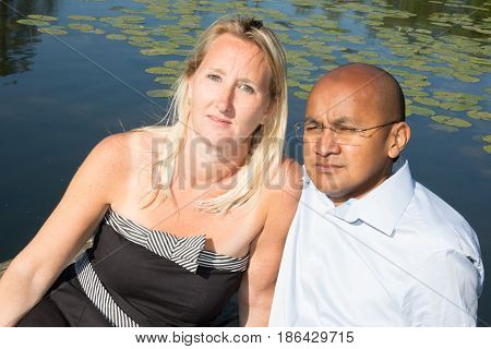 a mixed couple blonde and Spanish origin