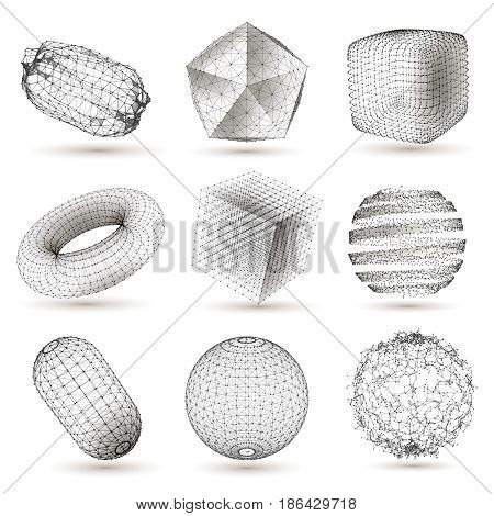 Digitally plotted geometric shapes imaged collection with cube sphere abstract figures white black design isolated vector illustration