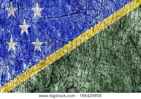Grudge stone painted Solomon Islands flag close
