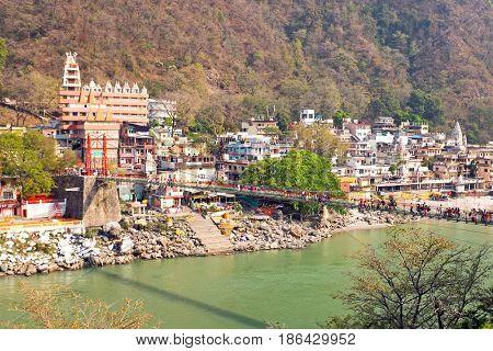 Laxman Jhula bridge at the Ganga in India