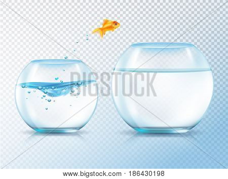 Fish jumping out bowl composition with realistic image of goldfish and two similar aquariums inflated with water vector illustration
