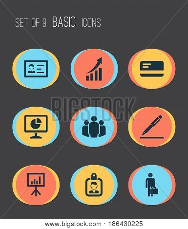 Business Icons Set. Collection Of Payment, Identification, Id Badge And Other Elements. Also Includes Symbols Such As Group, Payment, Arrow.