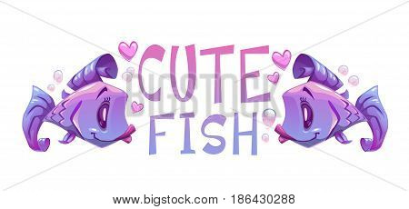 Horizontal cartoon print with cute fishes and slogan on white background. Vector illustration.