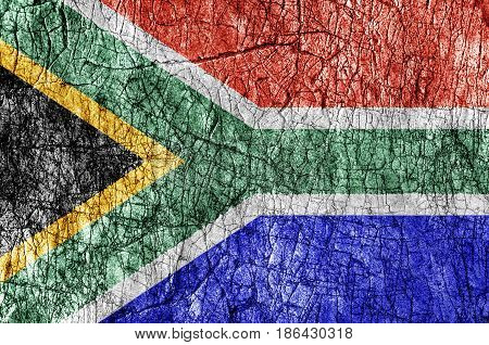 Grudge stone painted South Africa flag close up
