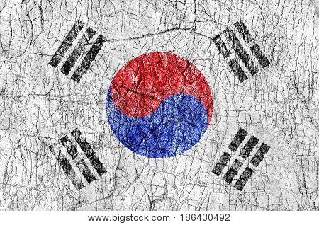 Grudge stone painted South Korea flag close up