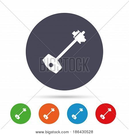 Key sign icon. Unlock tool symbol. Round colourful buttons with flat icons. Vector