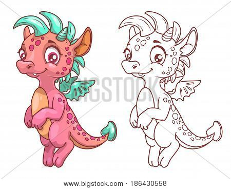 Cute cartoon little dragon, colorful and outline illustration. Vector art for kids coloring book.