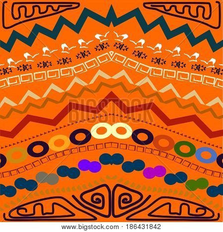 Abstract seamless pattern in the tribal style. Vector illustration