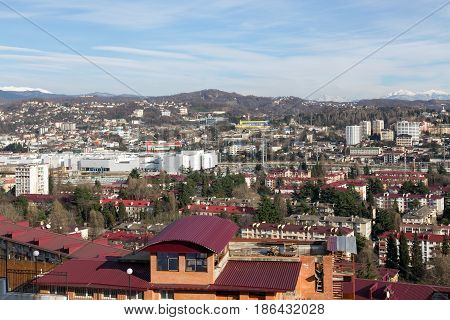 Sochi, Russia - February 11, 2016: View of the city of Sochi Central District