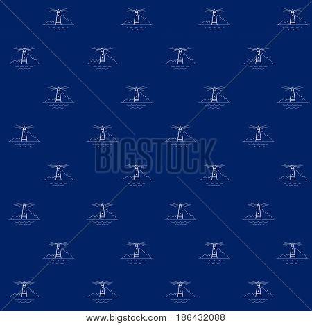 White Lighthouse on Blue Background, Seamless Sea Travel Pattern, Line Style Design, Vector Illustration
