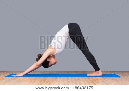 Asian Healthy Woman Exercising Yoga At Sport Gym, Girl Doing Sport Indoor.photo Design For Fitness S
