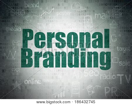 Marketing concept: Painted green text Personal Branding on Digital Data Paper background with  Scheme Of Hand Drawn Marketing Icons