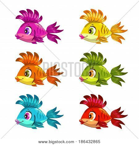 Funny cartoon colorful fishes set. Vector icons.