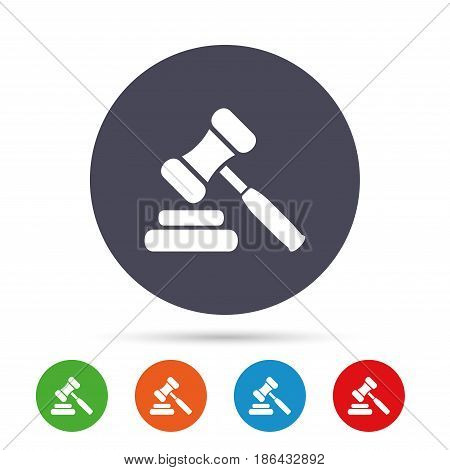 Auction hammer icon. Law judge gavel symbol. Round colourful buttons with flat icons. Vector