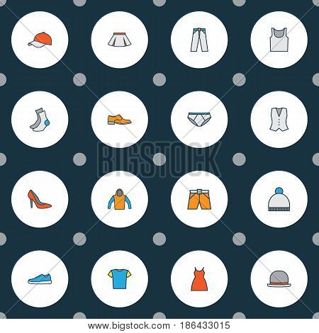 Dress Colorful Outline Icons Set. Collection Of Shorts, Beanie, T-Shirt And Other Elements. Also Includes Symbols Such As Tunic, Half-Hose, Hat.