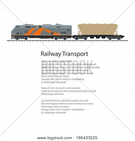Poster Locomotive with Hopper Car for Transportation Freights , Cargo Train Isolated on White Background and Text, Railway Transport, Vector Illustration