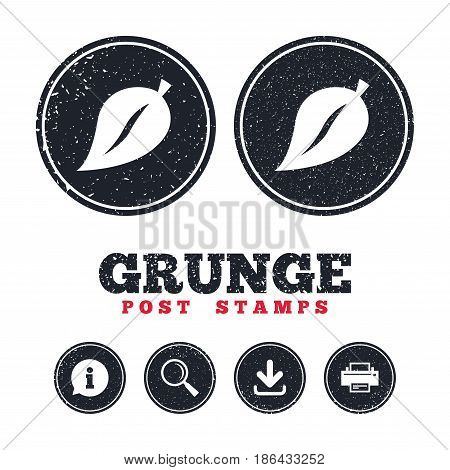 Grunge post stamps. Leaf sign icon. Fresh natural product symbol. Information, download and printer signs. Aged texture web buttons. Vector