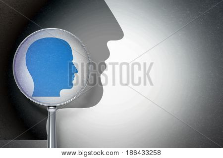 Advertising concept: magnifying optical glass with Head icon on digital background, empty copyspace for card, text, advertising, 3D rendering