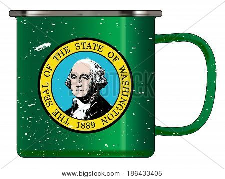 A typical blue coloured tin cup with white mottle FX over a white background and the Washington flag