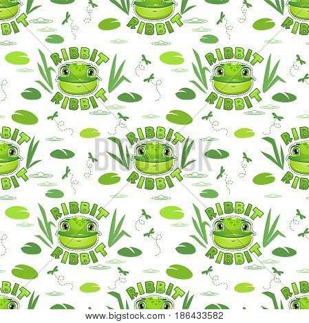 Seamless pattern with funny frog faces. Vector childish texture.
