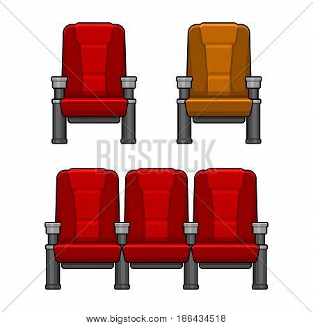 Cinema Red Chairs Set. Flat Style. Vector