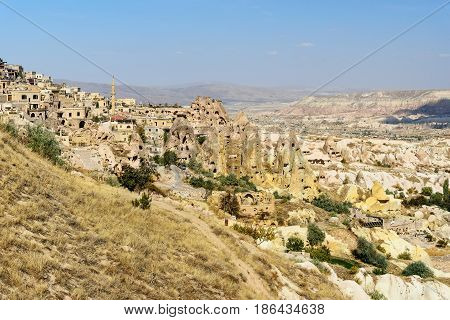 Pigeon Valley And Uchisar Town In Cappadocia. Turkey