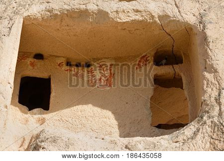 Old Painting On Window Of Cave House In Uchisar. Cappadocia. Turkey