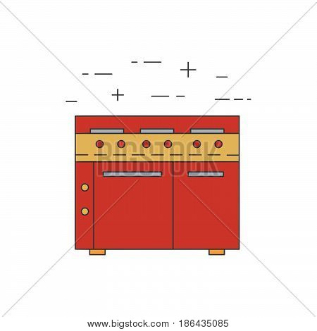 Stove, Oven Line Icon Isolated On White Background.