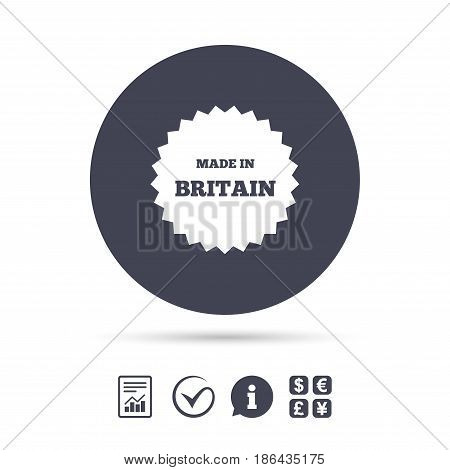 Made in Britain icon. Export production symbol. Product created in UK sign. Report document, information and check tick icons. Currency exchange. Vector