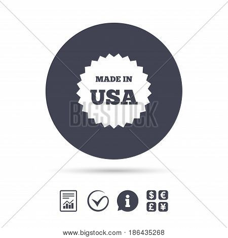 Made in the USA icon. Export production symbol. Product created in America sign. Report document, information and check tick icons. Currency exchange. Vector