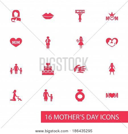 Mothers Day Icon Design Concept. Set Of 16 Such Elements As Pastry, People And Mouth. Beautiful Symbols For Flower, Heart And Pastry.