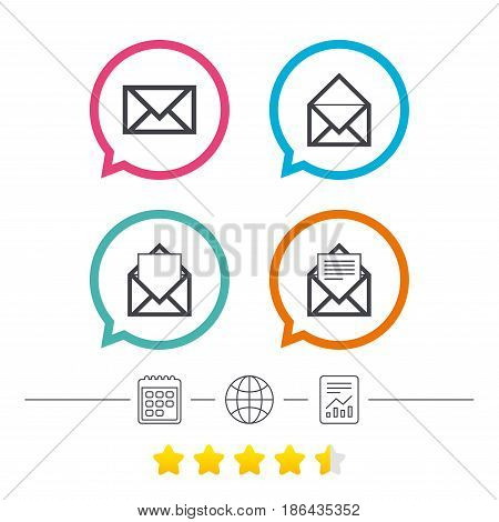Mail envelope icons. Message document symbols. Post office letter signs. Calendar, internet globe and report linear icons. Star vote ranking. Vector