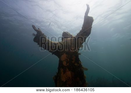 Christ Of The Abyss, Underwater Image, Toned Image,