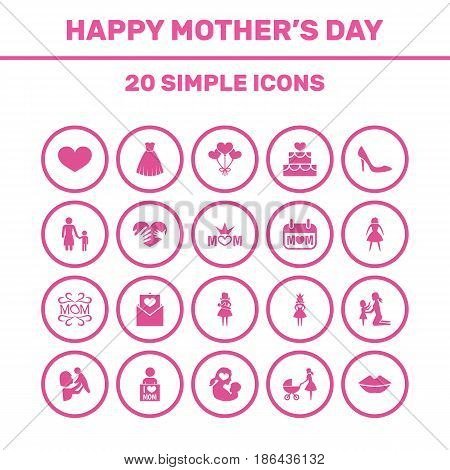Mothers Day Icon Design Concept. Set Of 20 Such Elements As Holiday, Hands, Kid. Beautiful Symbols For Letter, Soul And Queen.