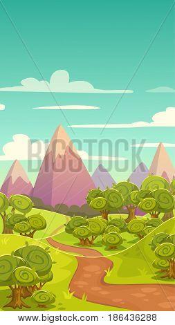 Cartoon vertical nature landscape. Sunny day background for game design. Vector illustration.