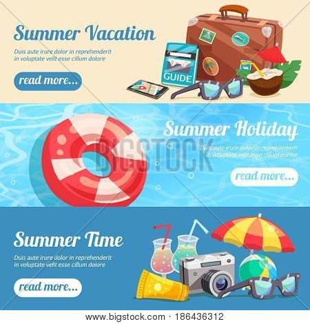 Summer holiday set of horizontal banners with beach accessories travel attributes lifebuoy on water isolated vector illustration