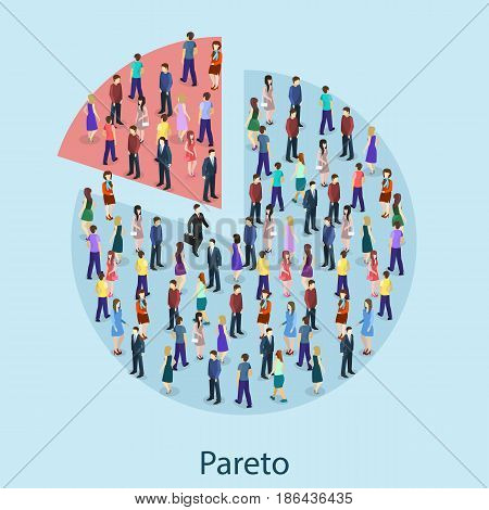 Isometric Flat 3D Isolated Concept Vector Pareto Principle
