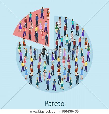 Isometric Flat 3D Isolated Concept Vector Pareto Principle