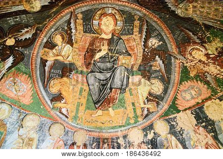 Fresco In Church Of The Cross At Rose Valley. Cappadocia. Turkey