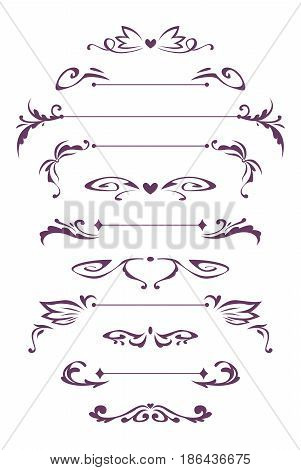 Decorative vintage design elements. Vector symmetric decor on white background.
