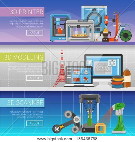 3D printing horizontal banners with place for text information about modeling program scanning process and printer types  flat vector illustration