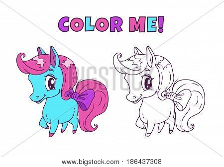 Little cute horse illustration for coloring book design. Vector colorful and outline pony icons on white background.