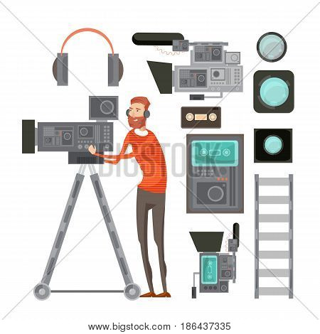Film cameraman with video equipment including tape headphones filters for objective lens vhs player isolated vector illustration