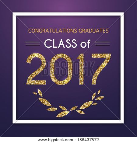 Congratulations on graduation 2017 class of. Party Celebrate High School / College Vector illustration on blue background.
